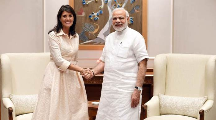 indian prime minister narendra modi shakes hands with u.s. ambassador to the united nations nikki haley before the start of their meeting in new delhi