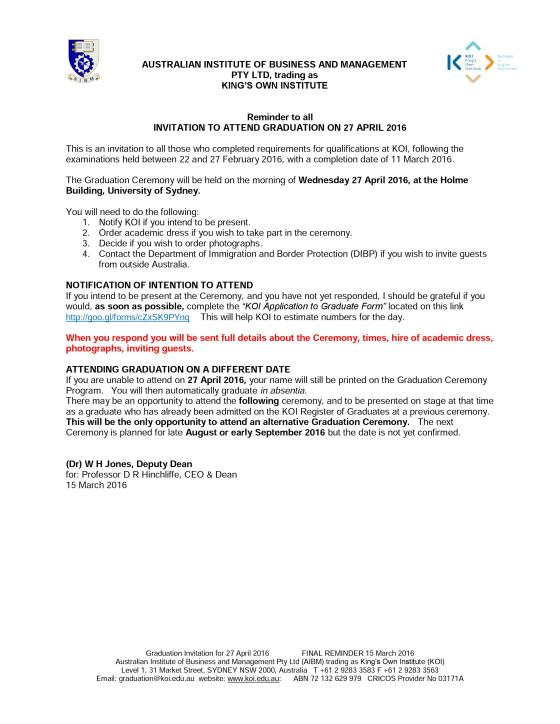 commencement invitation letter