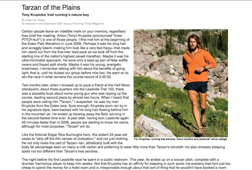 Running Times Magazine Tarzan of the Plains
