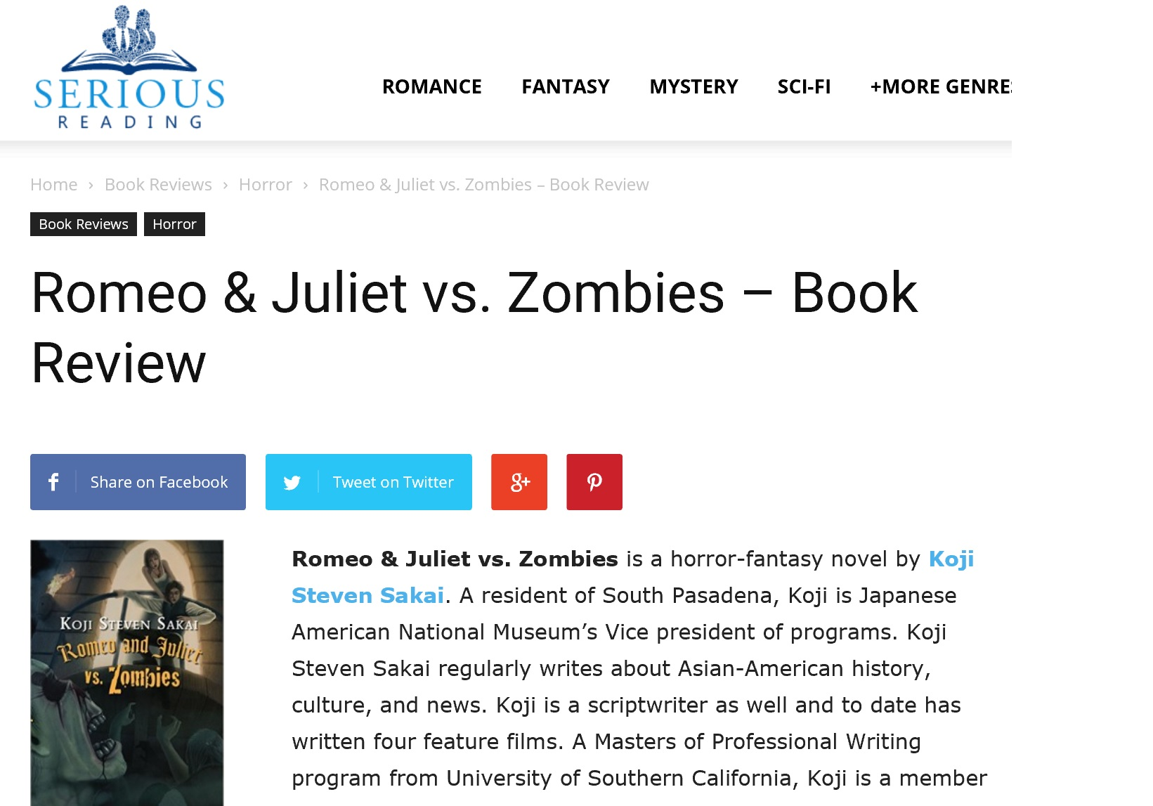 Romeo Amp Juliet Vs Zombies Book Review Koji Steven Sakai
