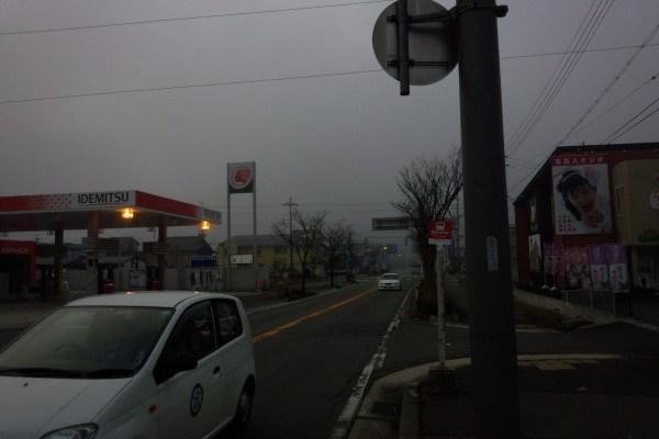 祢布交差点の冬の朝の情景