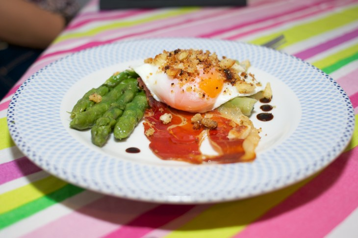 Asparagus and Jamon with sous vide fried egg