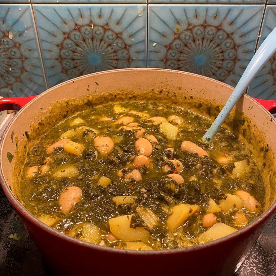Bkeila, potato and butter bean stew.