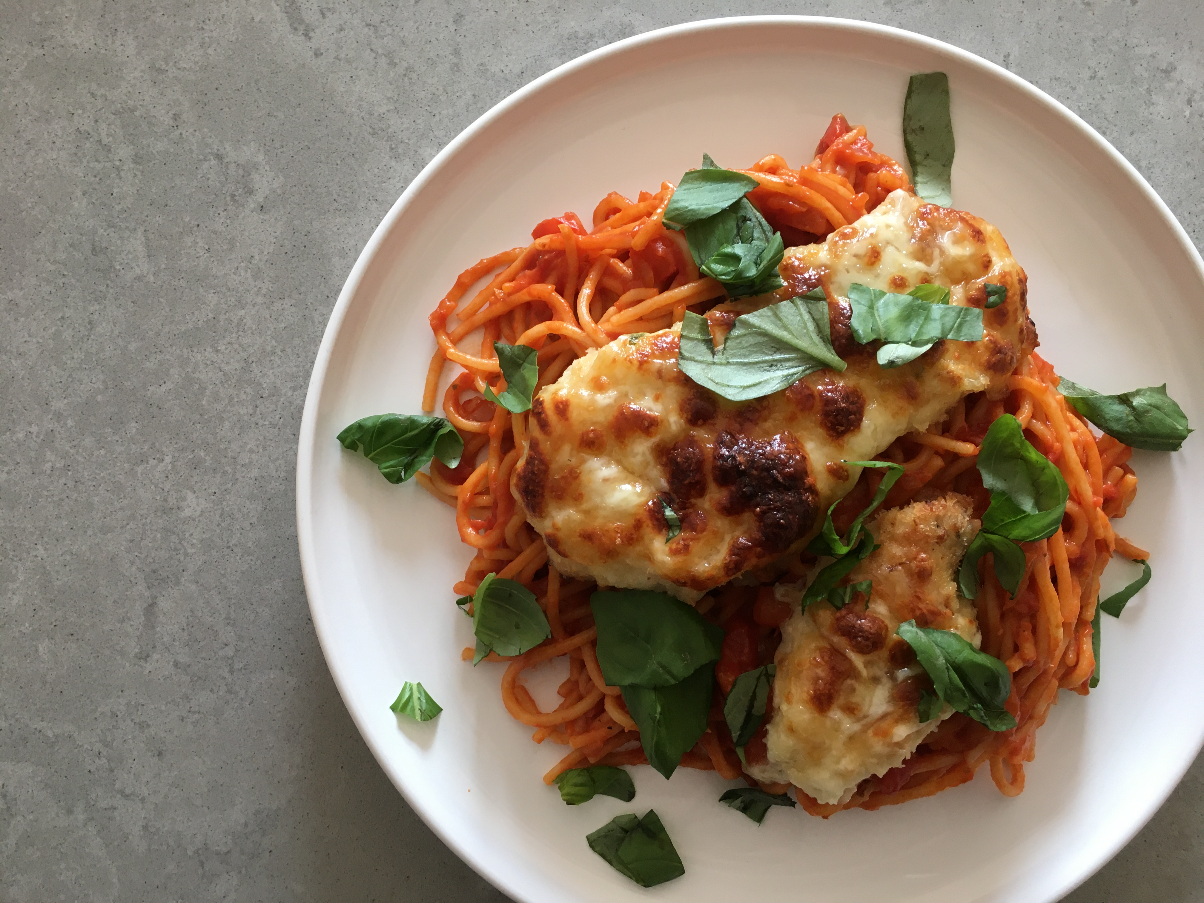 Gegratineerde kip met spaghetti