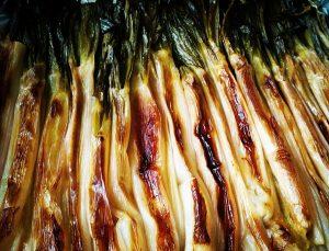 Calçots asados o cebolla tardía de Lérida
