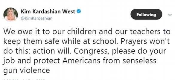 Kim Kardashian Lead Other Celebrities On Twitter Protest Over Florida Shooting 2