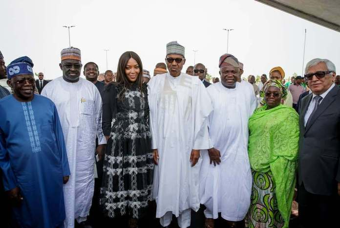 #PresidentialVisit: Buhari Pictured With Naomi Campbell & Others At The Eko Atlantic City In Lagos 1