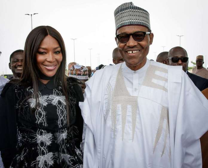 #PresidentialVisit: Buhari Pictured With Naomi Campbell & Others At The Eko Atlantic City In Lagos 3