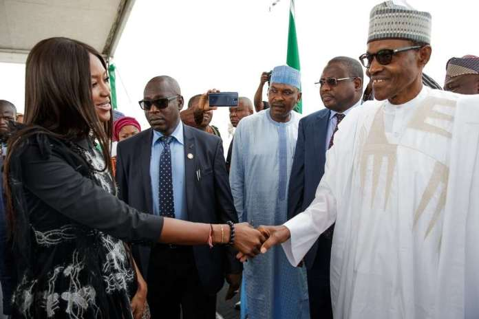 #PresidentialVisit: Buhari Pictured With Naomi Campbell & Others At The Eko Atlantic City In Lagos 2