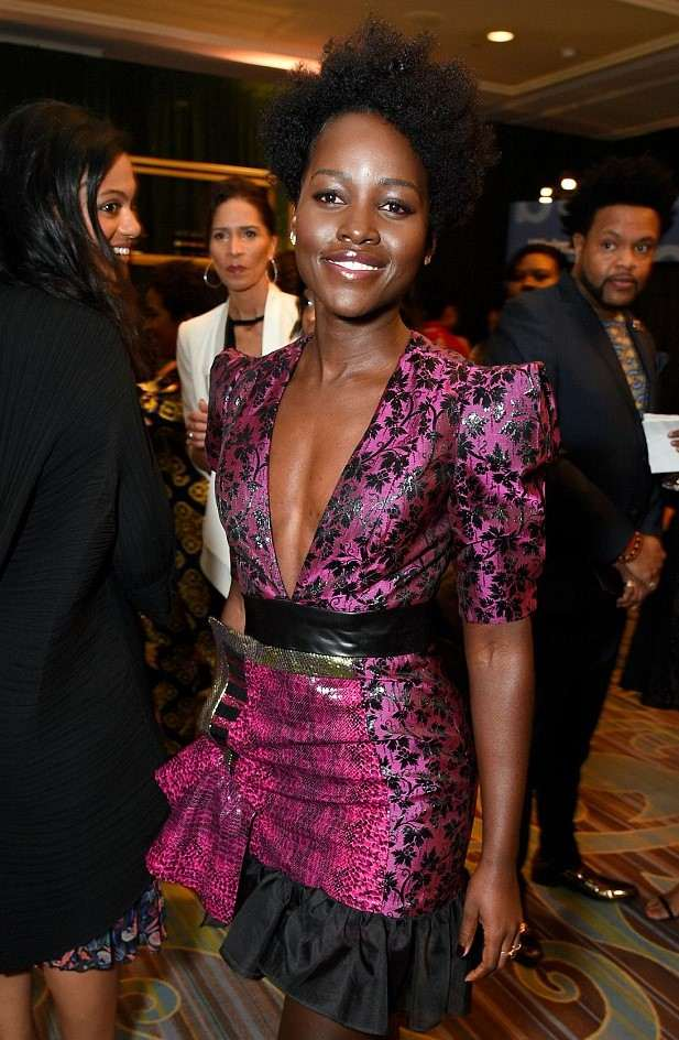 #BlackPanther! Lupita Nyong'o Dazzles In Daring Pink Dress At The 2018 Essence Black Women In Hollywood Oscars Luncheon 3
