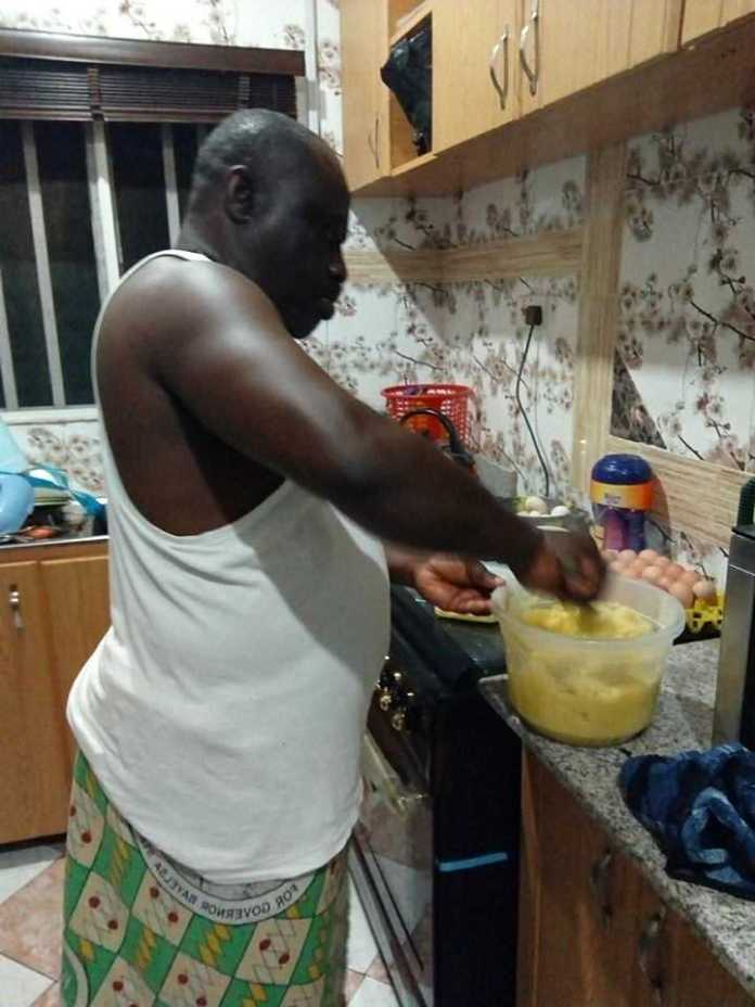 """Your Wife... Is Not A Slave"" - Nigerian Retired Soldier Says As He Shares Pictures Of Himself Cooking 2"