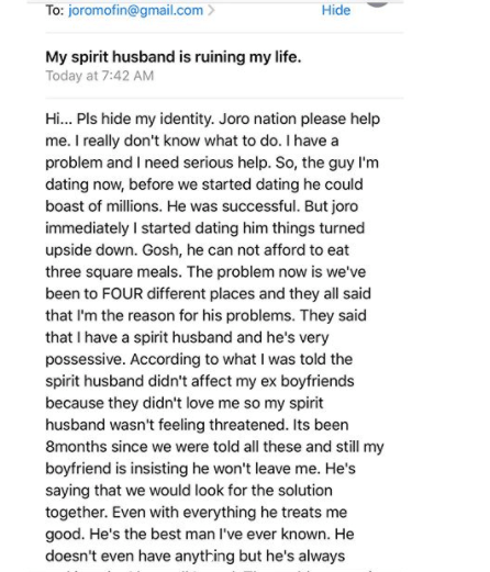 My Spirit Husband Is Ruining My Life - Nigerian Lady Cries Out 2