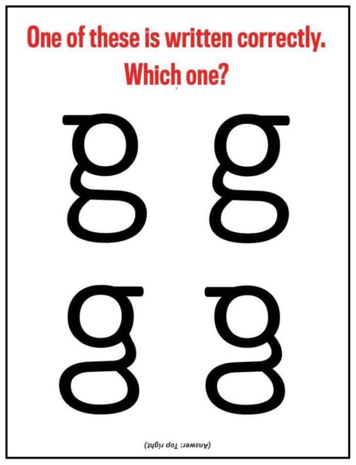 The G Quiz: Can You Pick Out The Right Lower-case Form Of The Letter G? You'll Be Shocked You Probably Can't 1