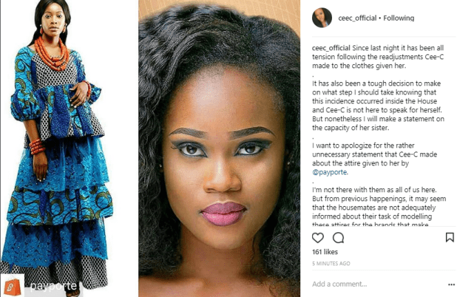 #BBNaija: Cee-C's Sister Apologizes On Her Behalf For Not Appreciating & Disrespecting Payporte And Efik Tribe 2