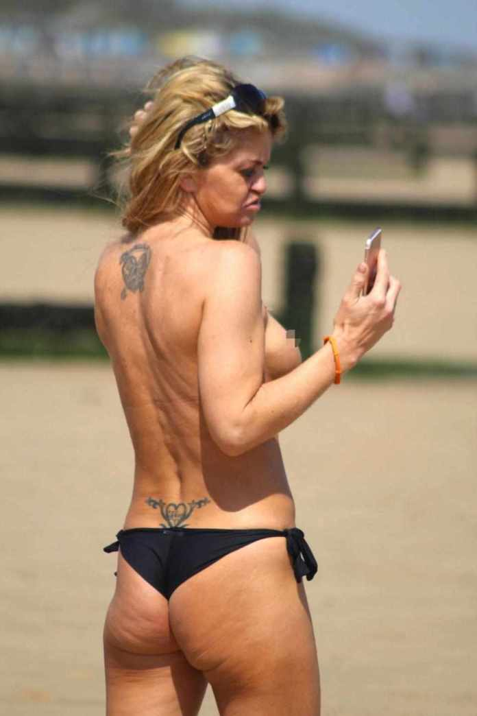 Not Again! Danniella Westbrook Goes Topless As She Soaks Up The Sun On Essex Beach 5