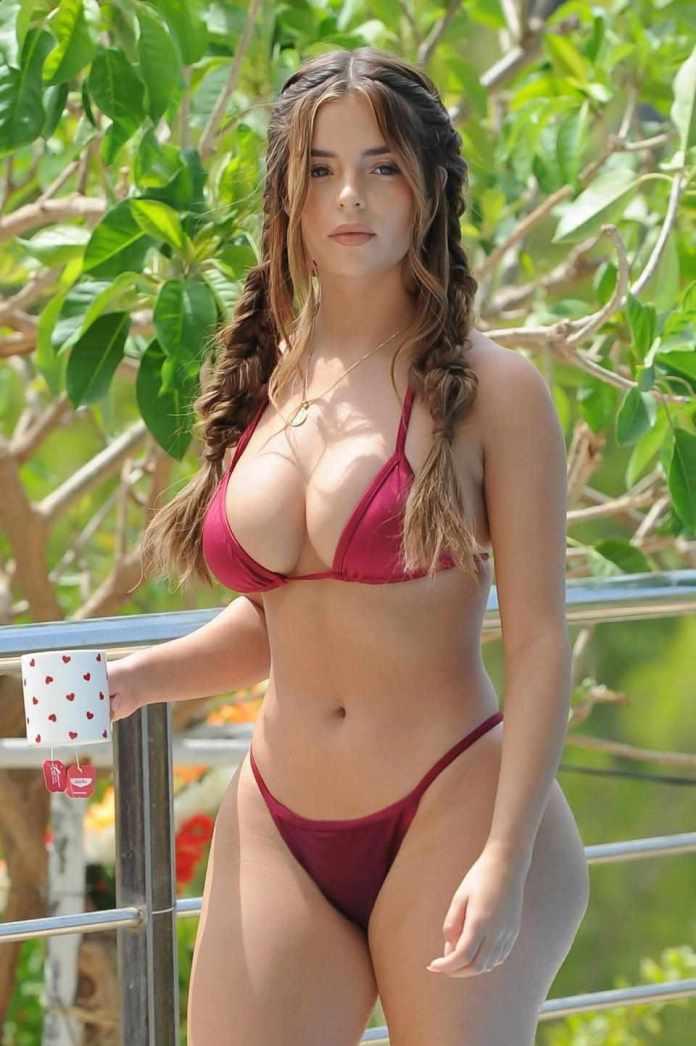 Demi Rose Flaunts Enviable Body In Red String Bikini 5