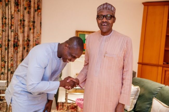 Photos: Obasanjo's Son All Smiles As He Meets With President Buhari 1