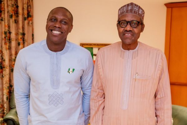 Photos: Obasanjo's Son All Smiles As He Meets With President Buhari 2