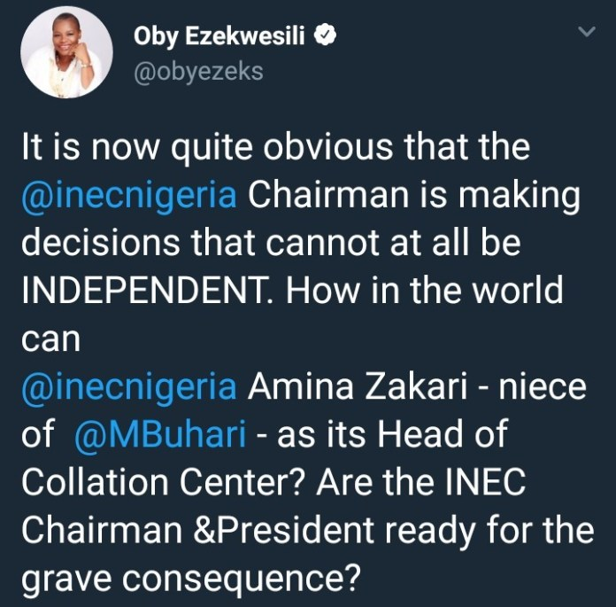 Are You Ready For The Grave Consequence?- Oby Ezekwesili Blasts Presidency and INEC Chairman 3