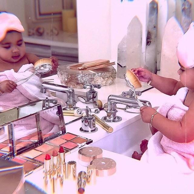 KOKO Junior: True Thompson Plays With Mum Khloe Kardashian's Makeup In Adorable Photos 2