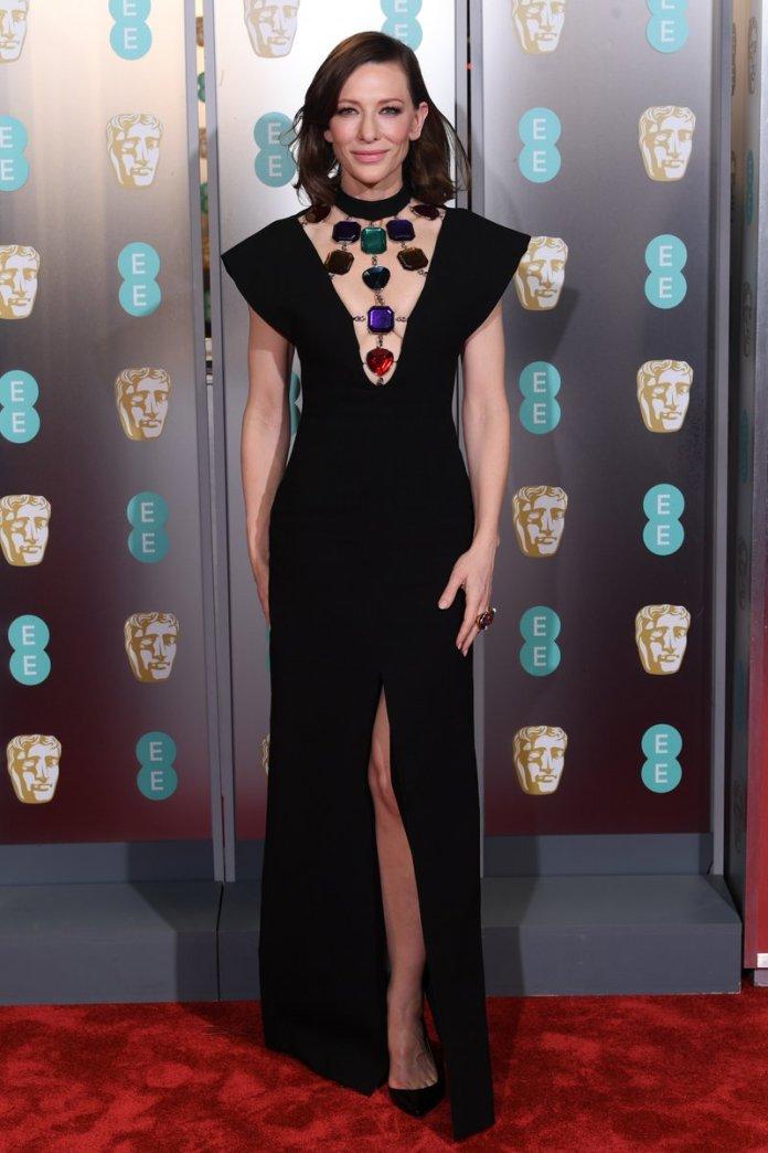 Style Stalking: Cate Blanchett Oozes Sophistication As She Goes Bra-less In Christopher Kane's Black Dress At BAFTAs 2019 1