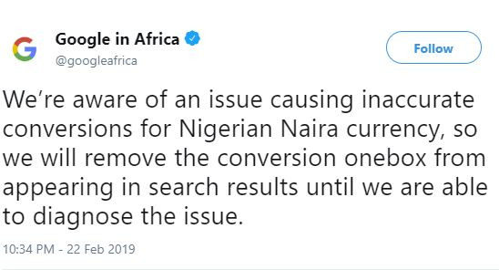 Google Releases Statement On the Sudden Drop Of The Dollar To The Naira 2