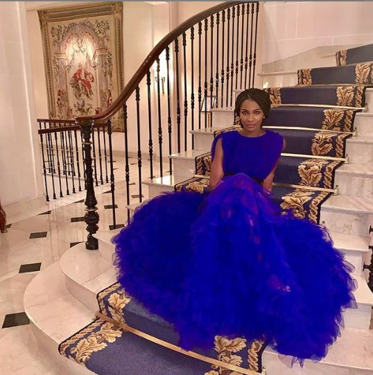Who What Wear: Agbani Darego Glows In Gorgeous Tiffany Amber Blue Tulle Gown 2