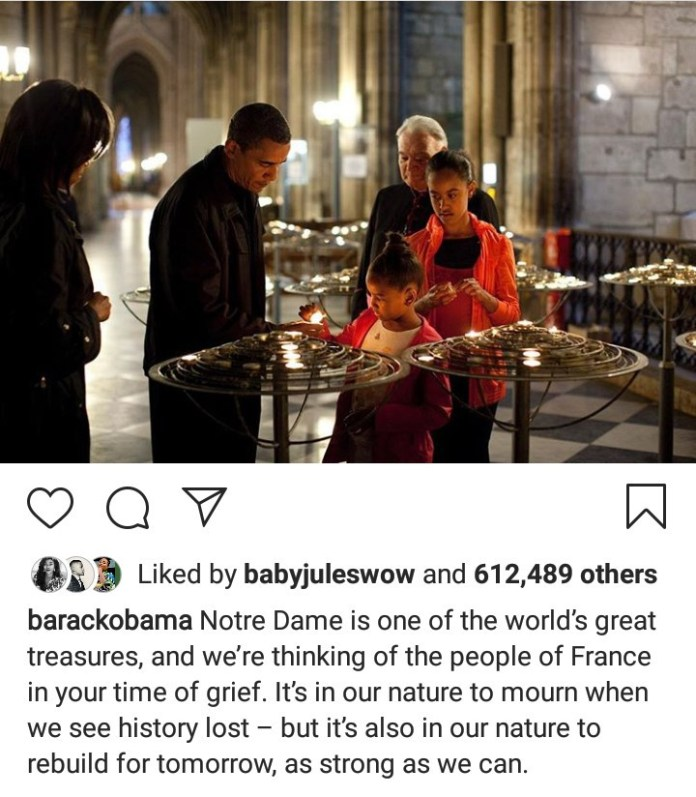 Barack Obama Sympathises With The People Of France In The Wake Of The Notre Dame Fire Incident 2