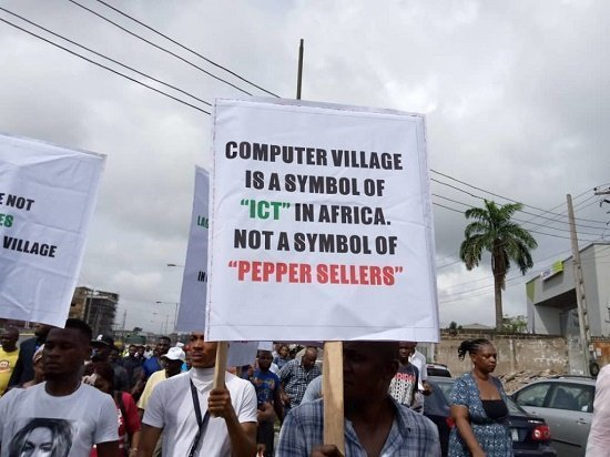 "Computer Village Shut Down By Traders In Protest Against Installing An ""Iyaoloja"" 1"