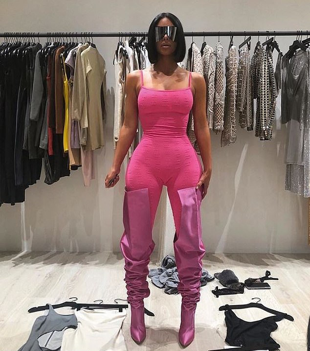 Kim Kardashian Flaunts Her Hourglass Curves In Pink Chanel Bodysuit 2