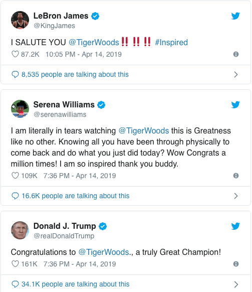 Serena Williams, Lebron James, Donald Trump And Other Stars Congratulates Tiger Woods On His Championship Win 4