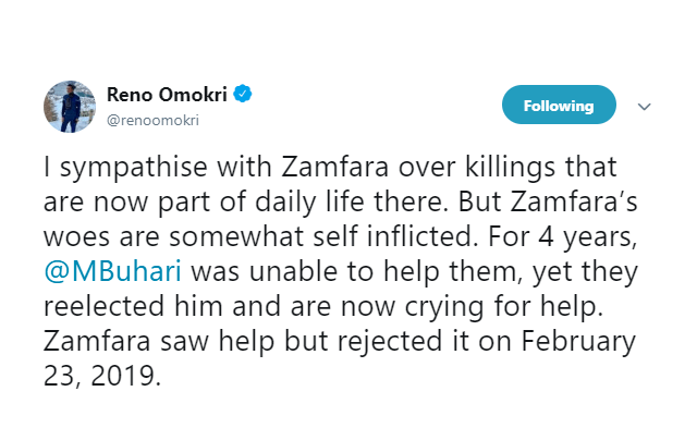 'Zamfara Re-elected Buhari, Their Woes Are Self-Inflicted'- Reno Omokri Says While 'Sympathising' With The State 2