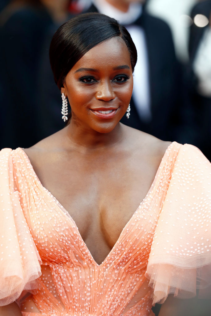 Black Princess! Aja Naomi King Looks Sensational In A Coral Zac Posen Gown At Cannes 1