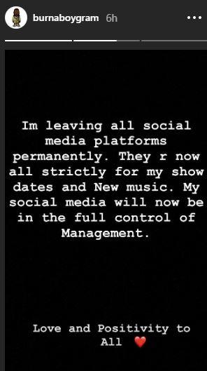 'I'm Leaving All Social Media Platforms Permanently' - Burna Boy 2