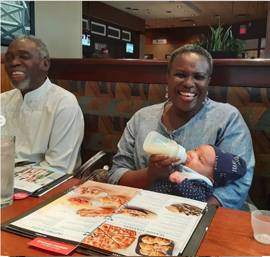 Joke Silva And Olu Jacobs Are The Adorable Grandparents As They Bottle-feed Their Grand Daughter 2