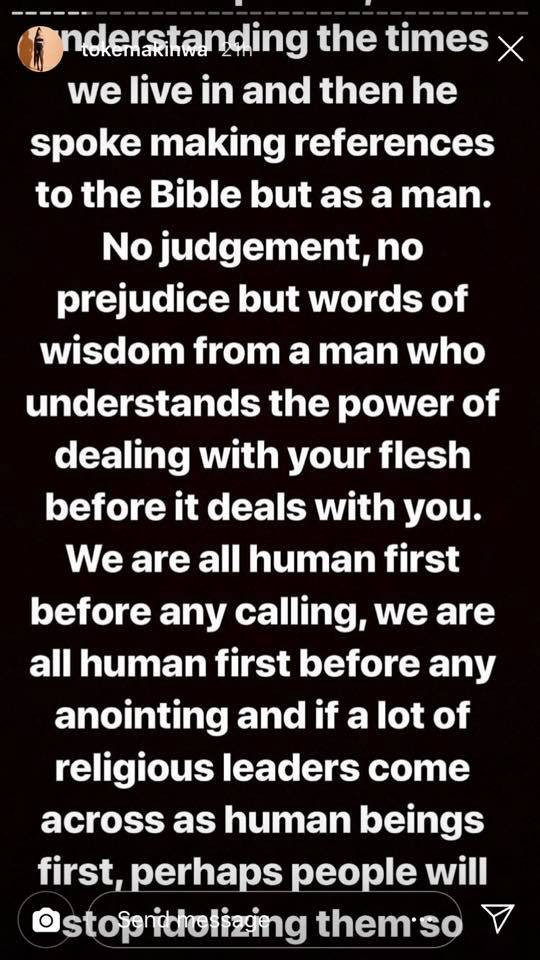 """We Are All Humans Before Any Calling"" - Toke Makinwa Supports Pastor Adeboye On Busola Dakolo And Biodun Fatoyinbo Rape Scandal 4"
