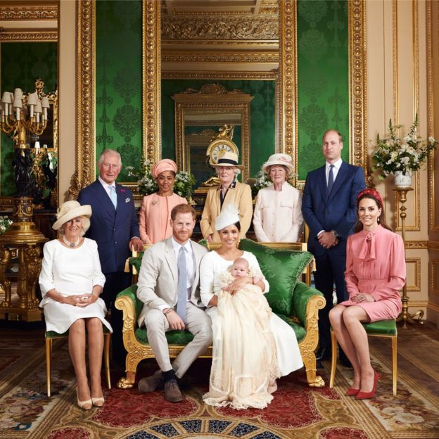 Meghan's mother, Doria Ragland, and Lady Jane Fellowes and Lady Sarah McCorquodale, the sisters of Diana, Princess of Wales, were among the guests (back row, left to right)