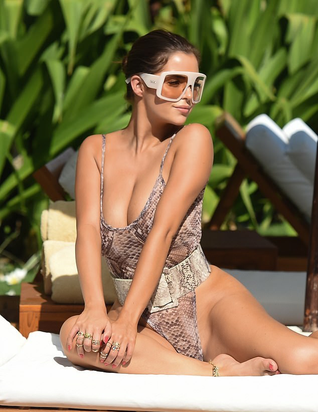 Demi Rose Puts On A Sensual Display In Curve-hugging Snakeskin Print Swimsuit  4