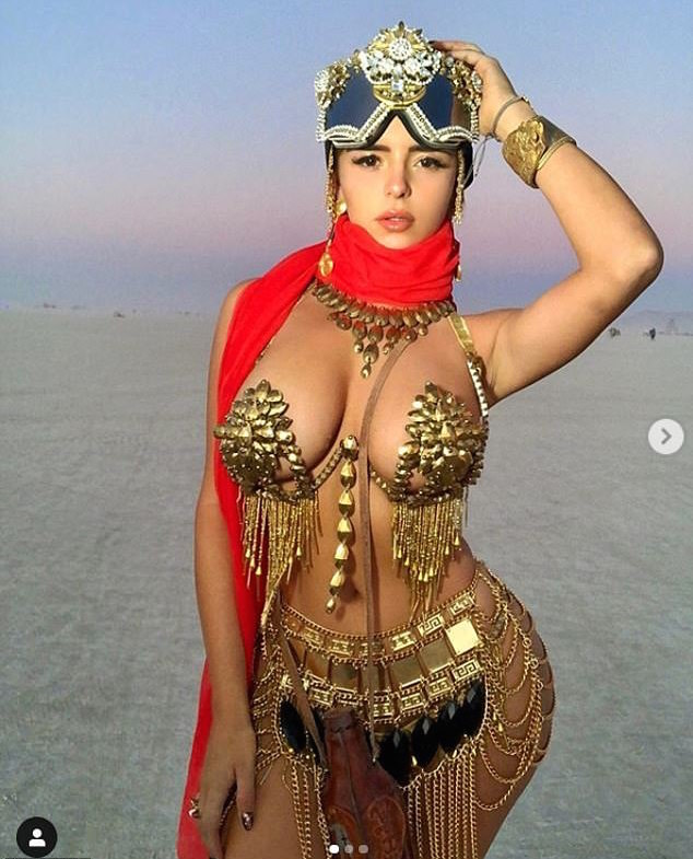 Demi Rose Shares One Of Her Sexiest Looks As She Wears Gold Metal Bikini And Belly-dancer's Belt 3