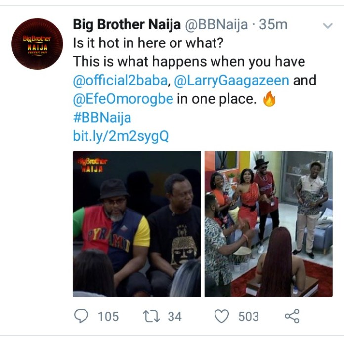 BBNaija: 2face, Efe Omorogbe And Larry Gaaga Pays Surprised Visit To The Housemates 3