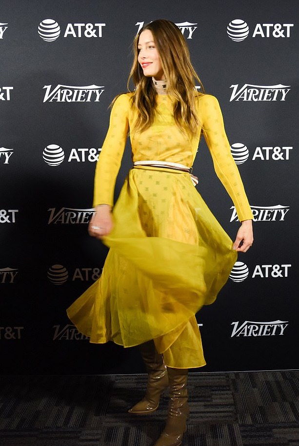 Jessica Biel Is A Vision In Sheer Yellow Fendi With Kneel-High Green Boots 1