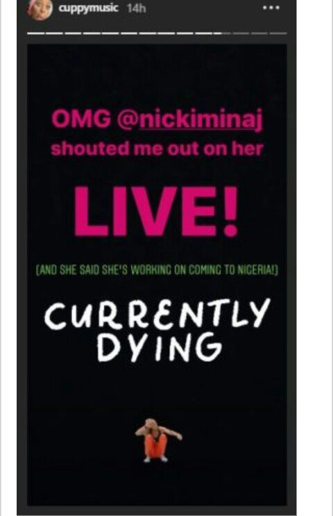 Currently Dying! DJ Cuppy Is Super Elated As She Receives A Shout Out FromNicki Minaj 3