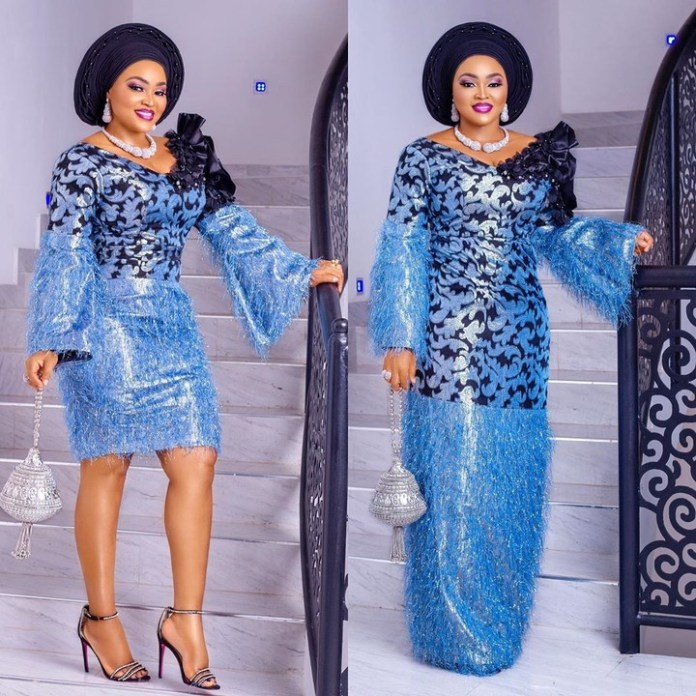 Mercy Aigbe Is The Real 'Queen Of Owambe' In Stylish Blue Aso Ebi 3