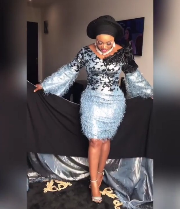 Mercy Aigbe Is The Real 'Queen Of Owambe' In Stylish Blue Aso Ebi 1