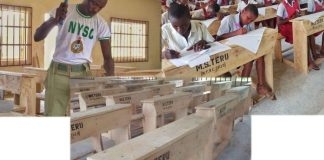 Patriotic! Corps Member Builds Over 80 Furniture For Students With His Own Hands