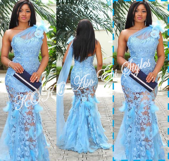 5 Stunningly Bespoke Blue Aso Ebi Lace Styles 4
