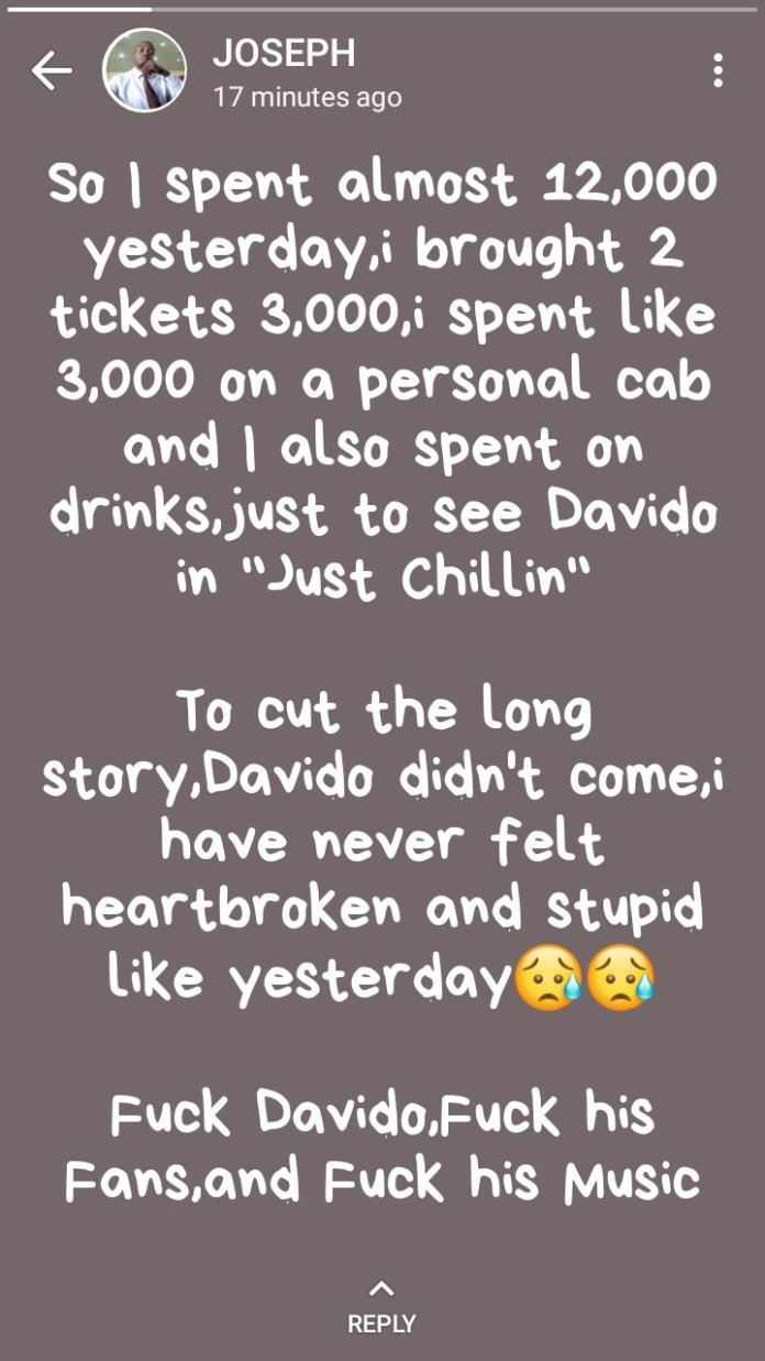 #DavidoDidntCum: Davido's Fans In Sifia Cries Out, After Singer Didn't Show Up For An Event 2