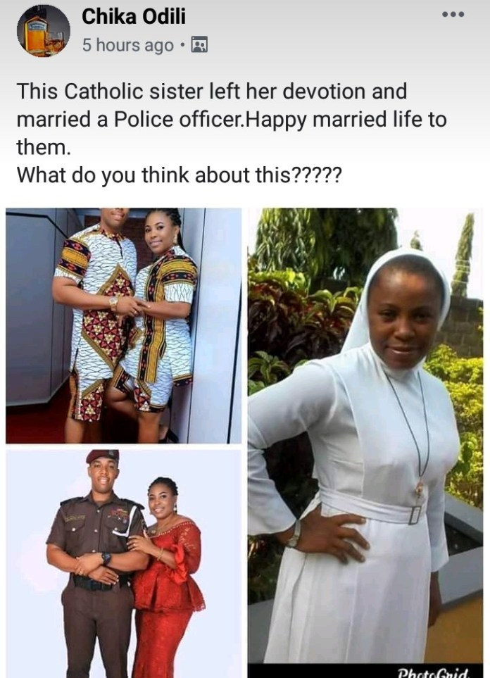 Catholic Sister Drops Religious Belief To Marry A Police Officer
