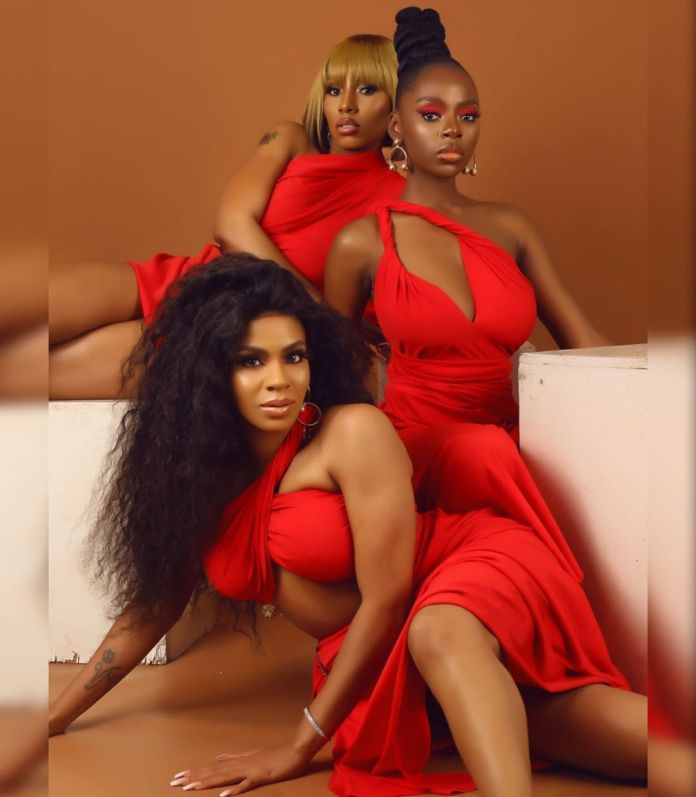 BBNaija Mercy,Dianne And Venita Look Sizzling Hot In Red