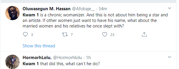 """Nigerians have taken to social media to share their thoughts on the story of Alaafin of Oyo who reportedly sent his youngest queen Olori Badirat parking for having an adulterous affair with the newly installed Mayegun of Yorubaland and Fuji icon Kwam 1.Recall that KOKO TV reported how the 81-year-old monarch allegedly sent the 29-year-old packing from his palace in Oyo State a day ago (Read here).Twerps are now having their say as some have dragged the newly installed Mayegun of Yorubaland and Fuji icon Kwam 1 on Twitter.One Ayo FBI wrote: """"Kwam 1 is one of the most Shameless old men who doesn't know he's shameless because he has been enabled far too long. What do you expect when women who worked hard for their own money go on their knees to spray him their hard earned money just because he shouted Yasin 1000times?""""One Oluwasegun Hassan wrote: """"Kwam 1 is a chronic womanizer. And this is not about him being a star and an artiste. If other women just want to have his name, what about the married women and his relatives he once slept with?"""""""